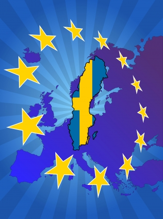 euro area: illustration of sweden map with stars european
