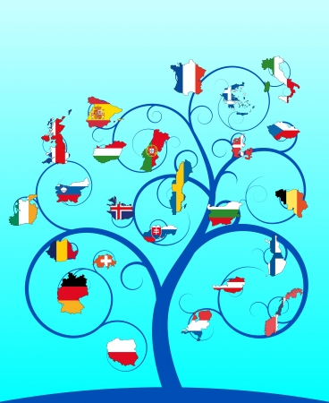 illustration of blue spiral tree with europe country