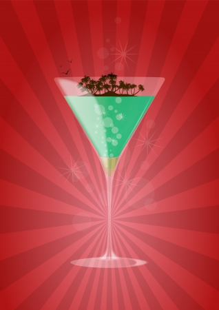 illustration of mint cocktail with island and birds Vector