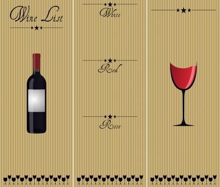 illustratie van de wijnkaart, wit, rood en rose