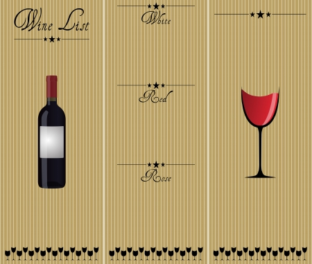 wine label design: illustration of wine list, white, red and rose Illustration