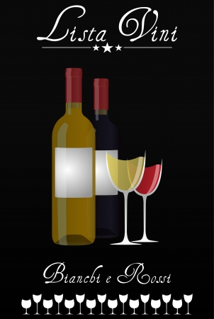illustration of wine list with bottles and glasses, italian language Vector