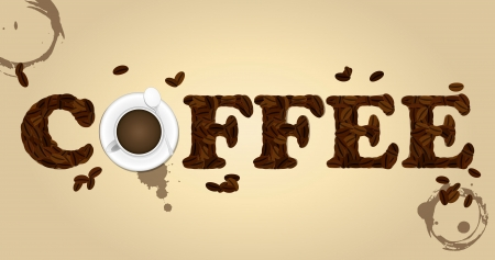 teaspoon: illustration of coffee text with beans and cup