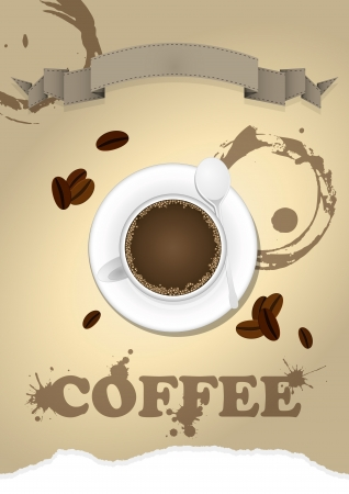 illustration of coffee cup with blank ribbon Vector