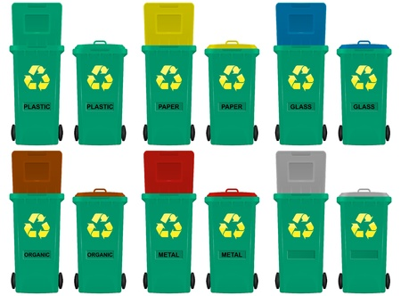 illustration of wheeled bins in six colors Vector