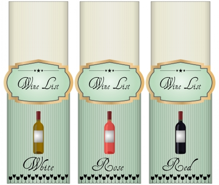 illustration of wine list, white, red and rose Vector