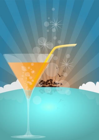 illustration of orange cocktail with island and birds Vector