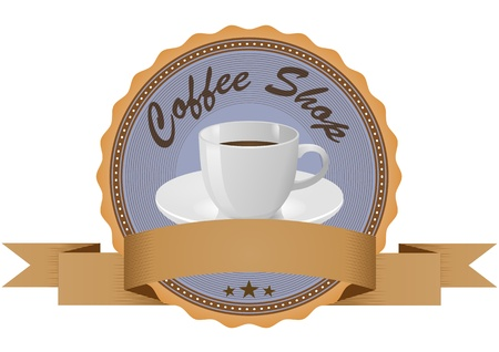 illustration of coffee in vintage badge with blank ribbon Vector