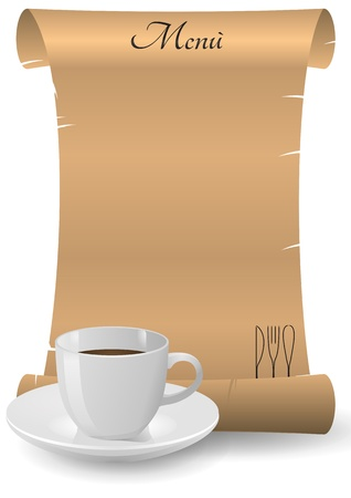illustration of menu in parchment with coffee cup Vector