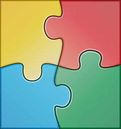 red puzzle piece: illustration of four pieces of color puzzle Illustration