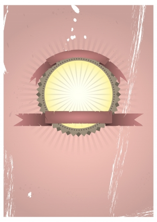 illustration of vintage grunge label with blank ribbon Vector