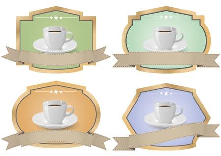 illustration set of coffee vintage color badge