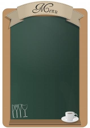 board: menu on green billboard with coffee cup