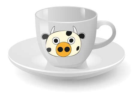 illustration of white cup with cow graphic Vector