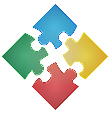 illustration of four pieces of color puzzle  イラスト・ベクター素材