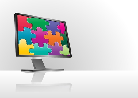 illustration of modern monitor with colorful puzzle  Stock Vector - 21637245