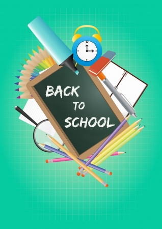 illustration of back to school text with objects Vector