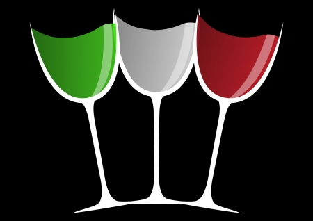 illustration of trhee wine glass, green, white and red color