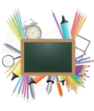 illustration of blank chalkboard with school object Vector