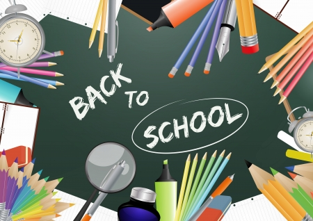 illustration of 'back to school' text in chalkboard Vector