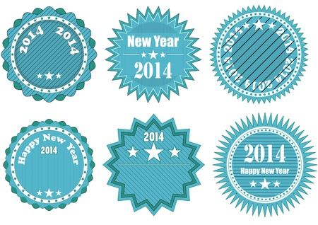 illustration of blue badge with 2014 year text Vector
