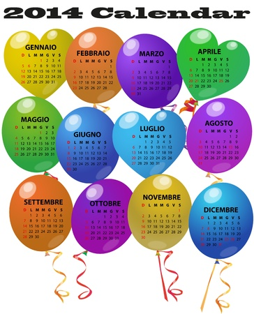 illustration of 2014 balloon calendar in italian language Vector