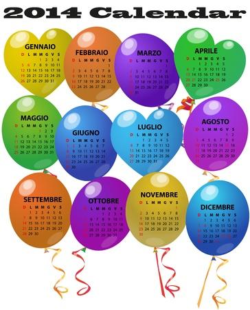 time fly: illustration of 2014 balloon calendar in italian language