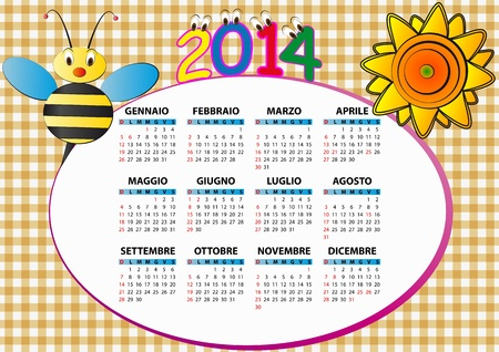 2014 bee and sunflower calendar for children in italian Vector