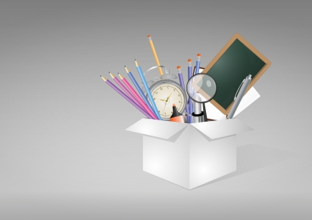 illustration of white box with object school Vector