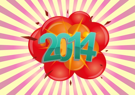 illustration of 2014 text with explosion Stock Vector - 21774460
