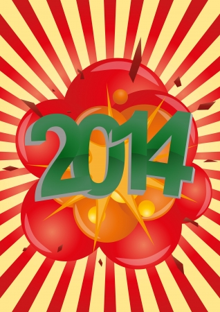 illustration of 2014 text with explosion Stock Vector - 21774461
