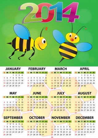 illustration of 2014 calendar for children  Vector