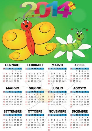 2014 butterfly calendar for children in italian Stock Vector - 21774479