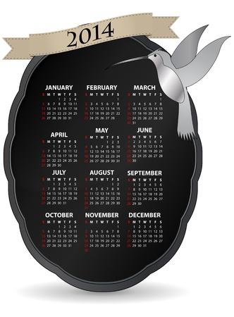 illustration of classic 2014 calendar with humming bird Stock Vector - 21774481