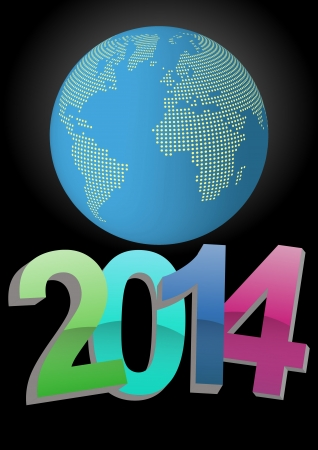 illustration of 2014 text with world in background Vector