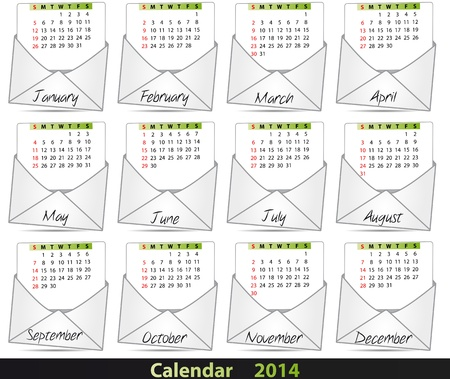 illustration set of 2014 mail calendar Vector