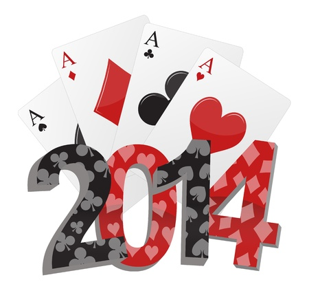 illustration of 2014 text with poker cards Vector