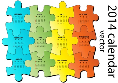 illustration of 2014 calendar on pieces of puzzle Stock Vector - 21774476