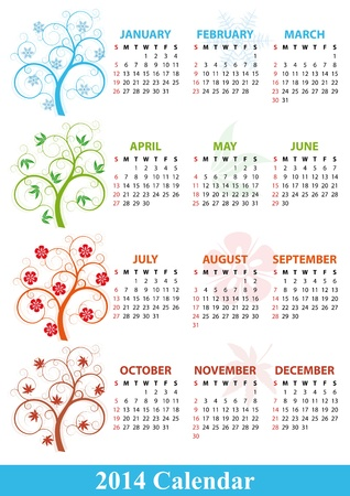 illustration of 2014 calendar season tree Stock Vector - 21774477