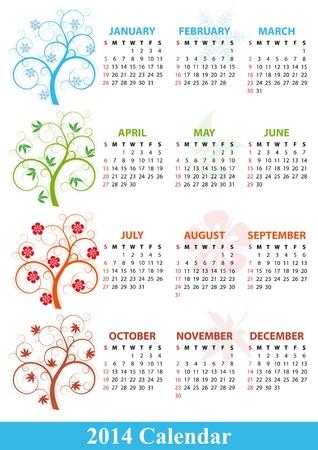 illustration of 2014 calendar season tree Stock Vector - 21774477