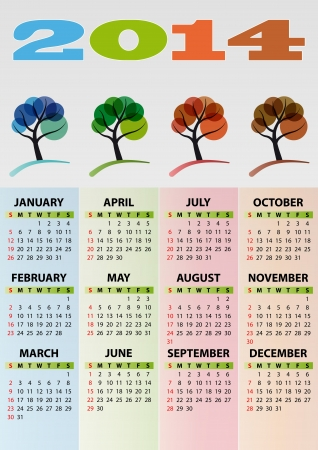 illustration of 2014 calendar season tree 向量圖像