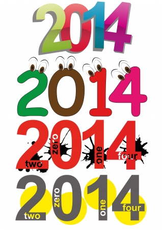 illustration set of 2014 year text Vector