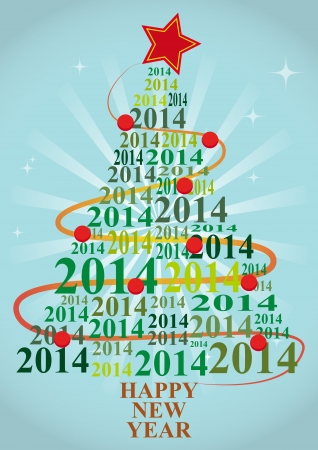 illustration of xmas tree with 2014 text year Vector