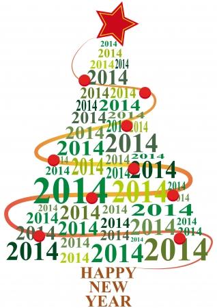illustratie van de kerstboom met 2014 tekst jaar Stock Illustratie