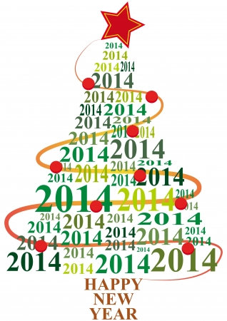 illustration of xmas tree with 2014 text year