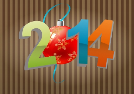 illustration of 2014 text with christmas balls Vector