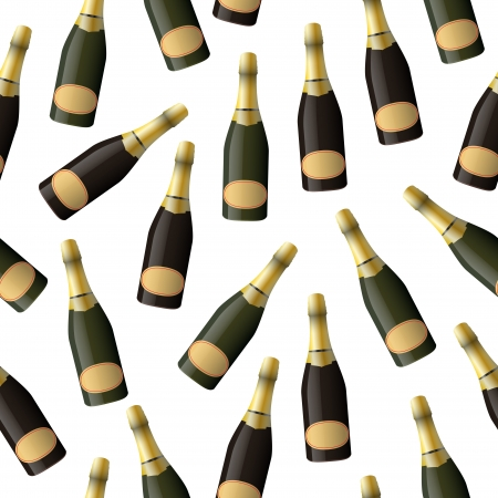 illustration of sparkling wine bottles, seamless pattern Vector