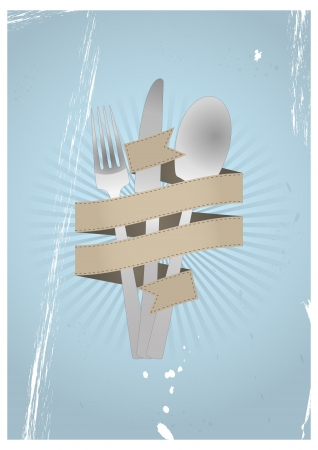 illustration of cutlery set with blank ribbon Vector
