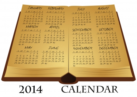 illustration of ancient book with 2014 calendar Vector
