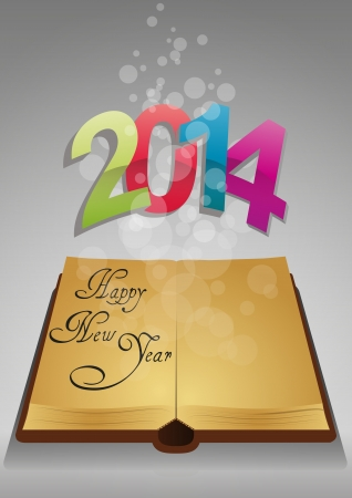 illustration of ancient book with colorful 2014 text Vector